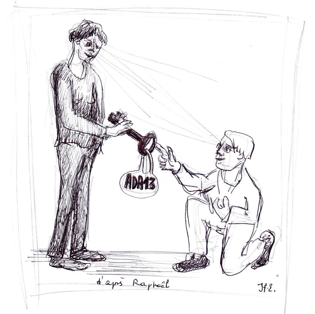 La passation de pouvoir (illustration de Françoise Samain d'après Raphaël)