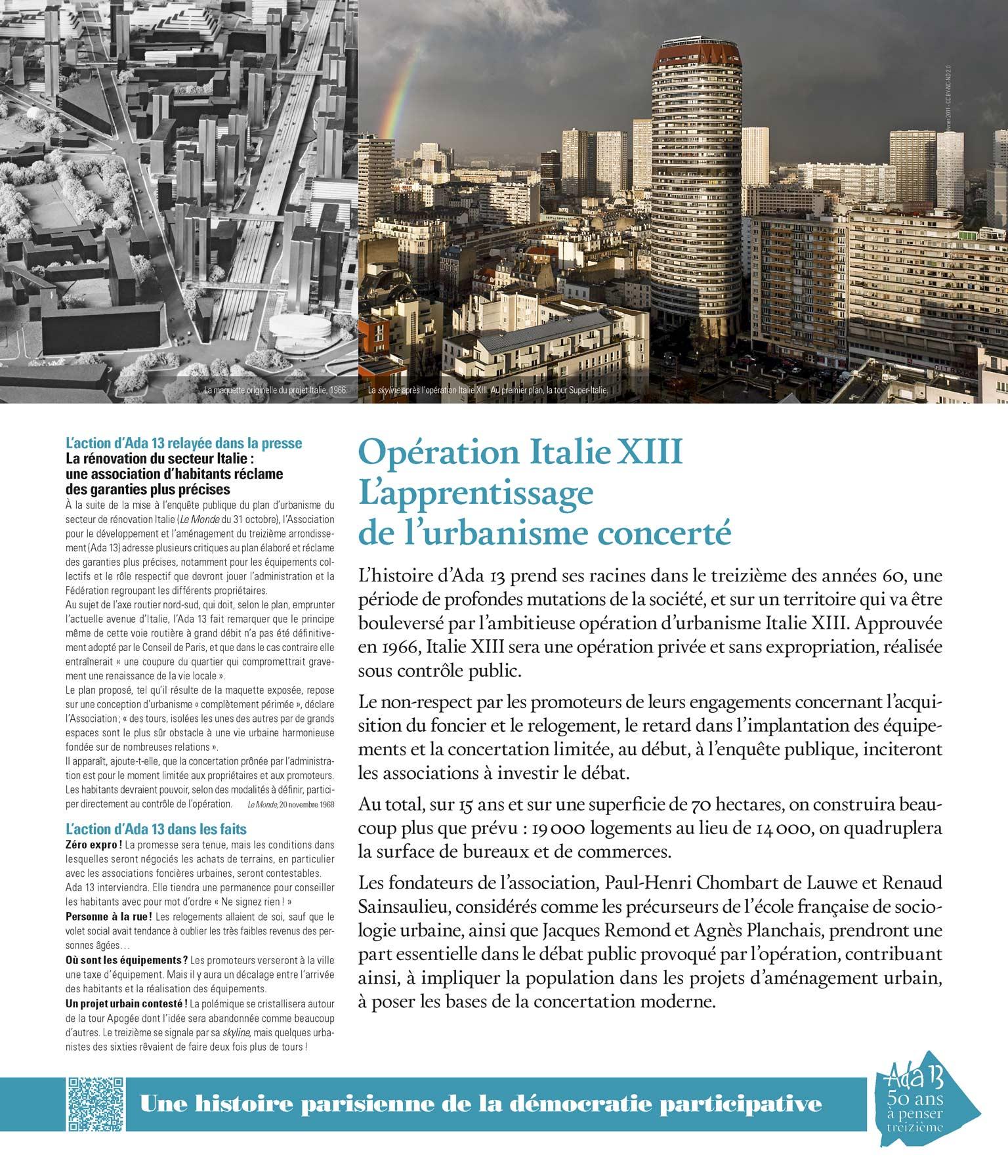 Panneau d'exposition | Opération ItalieXIII. L'apprentissage de l'urbanisme concerté
