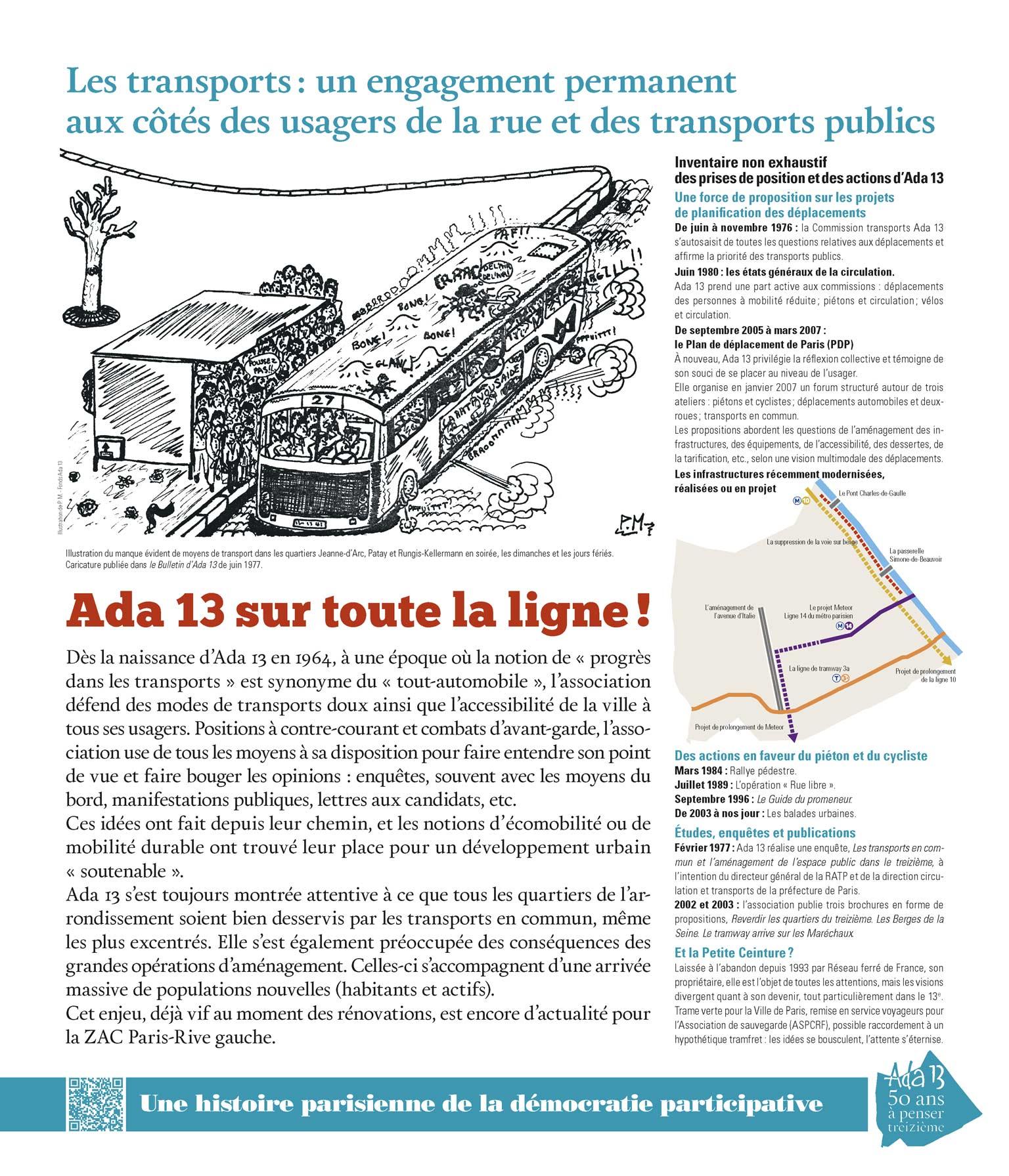 Panneau d'exposition | Les transports: un engagement permanent aux côtés des usagers de la rue et des transports publics