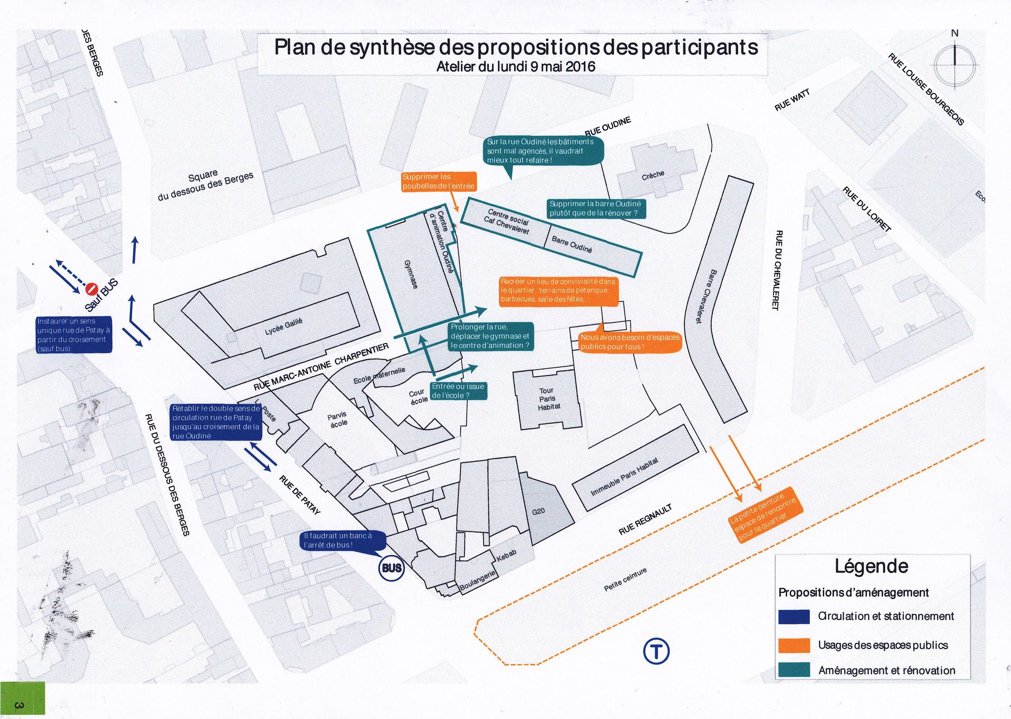 Ateliers concertation Oudiné- Synthèse des propositions-juin 2016